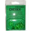 Poly 7 Mini Dice Set: Translucent Green w/White Thumb Nail