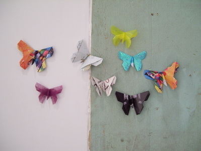 "Janice Lagard ""Colorful magazine ad recycled origami butterfly"" 2007"