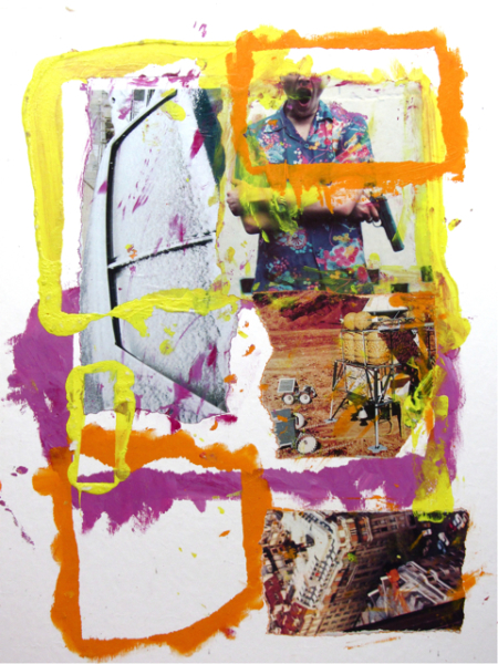 """Leo, Romeo & Juliet,"" 2002–2012, painting and collage, 16 x 20 inches"